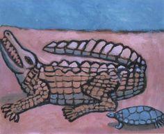 Cimán y tortuga. Acrílico / canvas. Autor : Carlos Osorio Granado