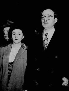 In 1950, 8 Americans were charged with passing Manhattan Project secrets to Moscow. 3 pleaded guilty & joined in jail 3 who were convicted. Remaining were New Yorkers Julius Rosenberg, an electrical engineer, & his homemaker wife Ethel. Both were avowed leftists. Though many thought the government's case left room for reasonable doubt they were condemned to die. The sentences led to a deluge of calls for clemency but the Rosenbergs were executed on June 19, 1953; she was 37, he was 35