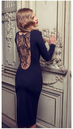 Navy dress with lace back