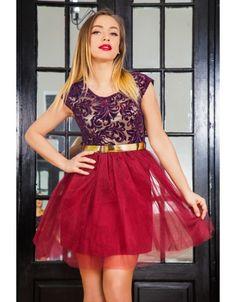 Rochie scurta cu fusta tul si broderie Skater Skirt, Skirts, Dresses, Fashion, Tulle, Embroidery, Vestidos, Moda, Skirt