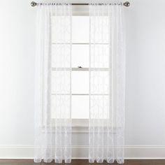 Royal Velvet Geneva embroidered sheer curtain panel, ivory, JCPenney