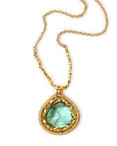 Dana Kellin Flourite Teardrop Pendant Gold Chain Necklace