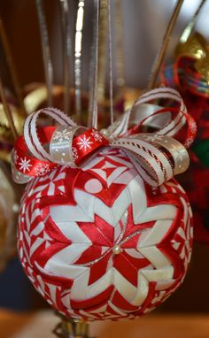 Handmade No Sew quilted ornament