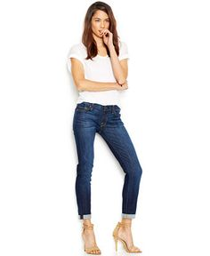 7 For All Mankind Jeans, The Skinny Crop And Roll, Nouveau NY Dark-Wash - Jeans - Women - Macy's