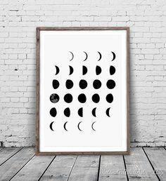 Moon Phases Print, Moon Art, Black and White Moon Poster, Moon Calendar, Moon…
