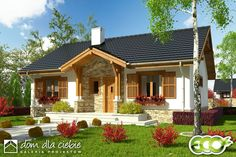 Projekt domu Ares - wariant B - Dom Dla Ciebie Dream House Plans, Small House Plans, My Dream Home, Small Farmhouse Plans, Small Country Homes, Modern Bungalow House, Rustic Houses Exterior, Villa, Cool House Designs