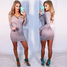 Sexy Grey Ribbed Front Lace Up Tassel Detail Long Sleeve Casual Dress Dresses For Teens, Sexy Dresses, Dress Outfits, Prom Dresses, Clubwear For Women, Spring Dresses, Bodycon Dress, Lace Up, Womens Fashion