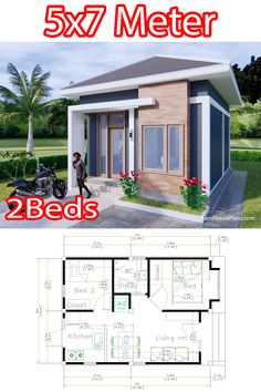 Little House Plans, 2bhk House Plan, Small Modern House Plans, Small House Floor Plans, Model House Plan, Little Houses, Small House Layout, Small House Design, House Layouts