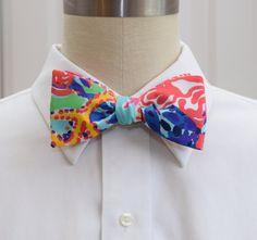 Men's Lilly Bow Tie in multi color Fishing for by CCADesign. The Carolina Cup is coming - be ready for it in this tie!