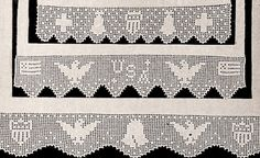 Antique Vintage Crochet Patriotic Filet Edging Pattern