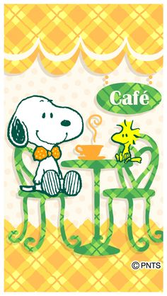 Snoopy Wearing Polka Dot Bow Tie Sitting at a Cafe Table With Woodstock