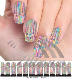 Rainbow Scattering Water Transfer Nail Art WRAPS STICKERS Foils DIY Decals