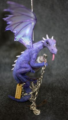 OOAK Needle Felted dragon ornament with treasure