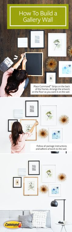 How to make a gallery art wall the easy way, with Command™ Picture Hanging Strips—no hammer, nails, or paper cutouts. Perfect for apartments or anywhere else you don't want to damage your wall. Tip: mix up the sizes, shapes, and materials of your art.