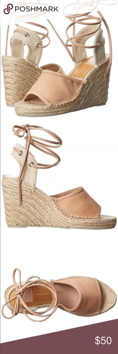 """Dolce Vita Sophia Wedge Sandal DV by Dolce Vita Women's Sophia Wedge Sandal Size 6.5   Leather and Canvas Imported Synthetic sole Heel measures approximately 4"""" Platform measures approximately 1.0  Espadrille-inspired sandal featuring jute-wrapped wedge, open toe, and ankle laces with tie closure New without box  Sold out Dolce Vita Shoes Espadrilles"""