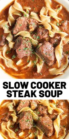 Slow Cooker Steak Soup - sirloin roast beef broth onion soup mix tomato paste Worcestershire sauce and egg noodles. Cooks all day in the crockpot - even the noodles. Serve with some crusty bread for an easy weeknight meal! Slow Cooker Steak, Slow Cooker Soup, Slow Cooker Recipes, Beef Recipes, Cooking Recipes, Healthy Recipes, Bread In Slow Cooker, Egg Noodle Recipes, Easy Steak Recipes