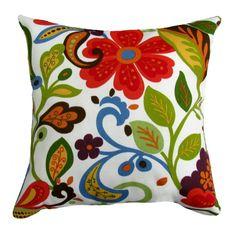 Wildwood Garden Floral Outdoor Throw Pillow Red Blue Green Orange Brown | eBay