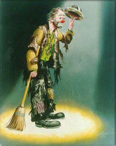 Beaux tableaux de D Rusty Rust - Page 15 Le Clown, Circus Clown, Emmett Kelly Clown, Auguste Clown, Clown Paintings, Oil Paintings, Deco Podge, Clown Images, Laugh Now Cry Later