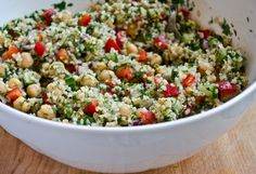 Substitute bulgur for quinoa?   Bulgur Salad with Cucumbers, Red Peppers, Chick Peas, Lemon and Dill