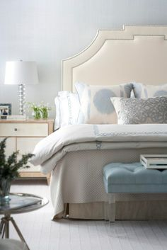 Blue and White Bedroom For Everyone muse interiors serene bedroom : nailhead upholstered headboard + tufted bed benchmuse interiors serene bedroom : nailhead upholstered headboard + tufted bed bench Blue Bedroom, Bedroom Decor, Bedroom Ideas, Pretty Bedroom, Bedroom Furniture, Bedroom Colors, Blue And Cream Bedroom, Wood Furniture, Light Bedroom