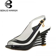 BONJOMARISA High Wedge Heel <font><b>Sandals</b></font> Buckle <font><b>Open</b></font> <font><b>Toe</b></font> Transparent Shoes Women's Summer Shoes Patent PU Sexy Summer Brand New Shoes Patent Shoes, Shoes Heels, Black And White Heels, Thigh High Boots Heels, Womens Summer Shoes, High Wedges, Club Shoes, Round Toe Pumps, New Shoes