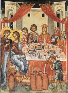 Icon of The Wedding In Cana. Jesus' first miracle when He turned water into… Byzantine Art, Byzantine Icons, Religious Icons, Religious Art, Religious Pictures, Life Of Christ, Jesus Christ, Sculpture Art, Sculptures