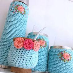 Set De Mate Tejido Y Bordado Comp /set Matero Tejido Crochet - $ 890,00 en Mercado Libre