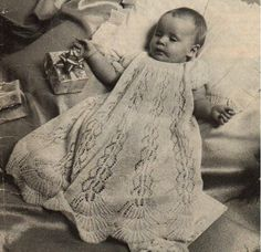 """Knitted Christening Gown. """"Great Occasion"""" pattern. Don't pay for this pattern on Etsy. Go here for a free pattern.  I made this out if knit picks cotton and it's beautiful."""