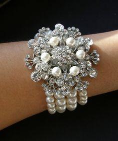 Items similar to Statement Pearl Bridal Bracelet Cuff, Vintage Style Wedding Bracelet, Rhinestone Victorian Style Wedding Bridal Jewelry, BOUQUET on Etsy Vintage Wedding Jewelry, Bridal Jewelry, Gems Jewelry, Jewelry Crafts, Pearl Bracelet, Flower Bracelet, Pearl Necklace, Wedding Bracelet, Matching Necklaces