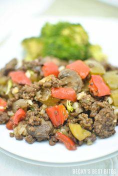 Bell Pepper Mushroom and Ground Beef Skillet http://www.beckysbestbites.com/bell-pepper-mushroom-ground-beef-skillet/?utm_campaign=coschedule&utm_source=pinterest&utm_medium=Becky%27s%20Best%20Bites&utm_content=Bell%20Pepper%20Mushroom%20and%20Ground%20Beef%20Skillet #healthyrecipe #30MinuteMeal