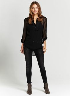 Black Dipped Hem Blouse, £69, mint velvet