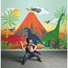 This bright and colourful mural will be a favourite for any child that loves dinosaurs.⠀ Blast from the Past Dinosaur Playdate Adventure Mural : ⠀ ⠀ Playroom Mural, Kids Room Murals, Murals For Kids, Kids Room Paint, Bedroom Murals, Bedroom Ideas, Dinosaur Kids Room, Dinosaur Room Decor, Dinosaur Dinosaur