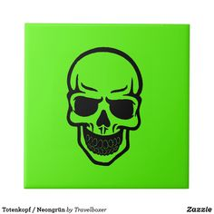 Shop Skull/neon-green Ceramic Tile created by Travelboxer. Verde Neon, Neon Green, Invitation Cards, Art For Kids, Create Your Own, Wedding Gifts, Art Pieces, Skull, Ceramics