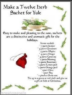 Make 12 Herb Sachet Yule Gift Item Wicca Book of Shadows Pagan Occult Ritual Winter Holidays, Christmas Holidays, Christmas Crafts, Xmas, Pagan Christmas, Bohemian Christmas, Country Christmas, Christmas Ideas, Yule Celebration