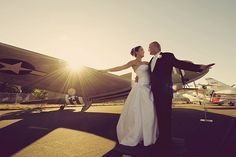 """This wedding at an aviation museum! But the part I want to take from it is: """"You may now kiss the groom."""""""