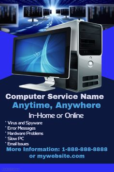 Computer Service Repair anytime anywhere Computer Repair Services, Computer Service, Logo Publicidad, Invert Colors, Pc Repair, Promotional Flyers, Online Support, Change Background, Facebook Photos