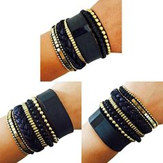 Fitbit Bracelet to Accessorize the Fitbit Charge or Almost Any Other Fitness Tracker - The ROSIE Beaded, Braided Layered Snap Bracelet (Black) *** Want to know more, click on the image. (This is an affiliate link) #HealthMonitors