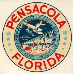 PENSACOLA FLORIDA US NAVY & BEACH  LUGGAGE LABEL | eBay