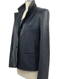 Mid 1990s Luscious Leather Italian Made Armani Collezioni Pinstriped Blazer/Jacket—Size US 12/IT 48 PLUS  (10759CL) by LipstickGirlVintage on Etsy