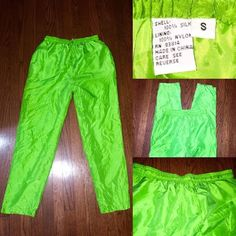 Bright green silk pants size small elastic waist These pants are super cute and fun for the summer. They look great with a crop top and sandals or flats. They're very light and cool for hot summer days. They're 100% silk and the lining is 100% polyester. They feature an elastic waist. These pants look great once they're steam ironed, the picture doesn't do it justice. They look wrinkled cause they've been sitting in my closet for a while. Make me an offer! I will consider all offers;-) Pants