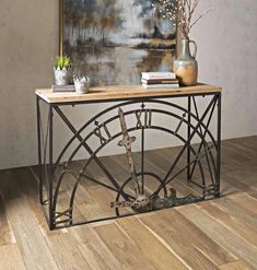 Half Clock Console It's time for something different. This wrought iron and wood console table features half a clock face as its design motif. Industrial Console Tables, Industrial Design Furniture, Rustic Furniture, Furniture Design, Industrial Style, Antique Furniture, Industrial Lamps, Refinished Furniture, Modern Furniture