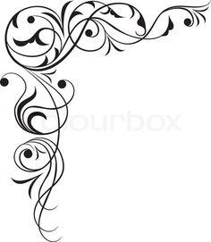 Filigree, tattoo, scroll stock vector