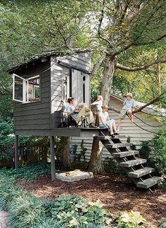 "Backyard Shed ""Tree"" House. The grey color blends nicely. Backyard Shed ""Tree"" House. Build A Playhouse, Playhouse Outdoor, Playhouse Ideas, Treehouse Ideas, Simple Playhouse, Outdoor Playset, Outdoor Fun, Outdoor Spaces, Outdoor Living"