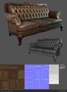 Club Room Sofa, Wai-Hung Wan on ArtStation at… Prop Design, Game Design, 3d Design, Blender 3d, Zbrush, Samurai Artwork, Game Props, Low Poly 3d Models, Environment Concept Art
