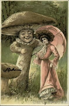 Woman with Pink Parasol Meets Motherly Mushroom Fantasy