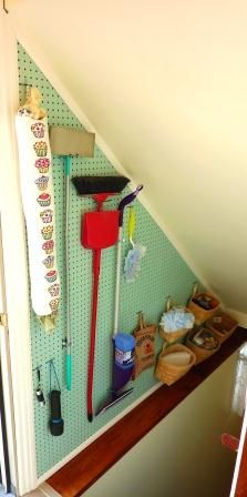 Pegboard For storage . Would keep the crap out of my mudroom. If we arent going Basement Stairs Arent crap Mudroom Pegboard storage Basement Storage, Stair Storage, Wall Storage, Closet Storage, Craft Storage, Basement Remodeling, Closet Organization, Storage Ideas, Pegboard Storage