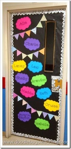 29 Awesome Classroom Doors For Back-To-School Back to School Bulletin Boards - door decor that matches hall bulletin board- bright colors, buntings and black! Back To School Bulletin Boards, Classroom Bulletin Boards, New Classroom, Classroom Setting, Classroom Displays, Preschool Classroom, Classroom Themes, Classroom Door Decorations, Kindergarten Door