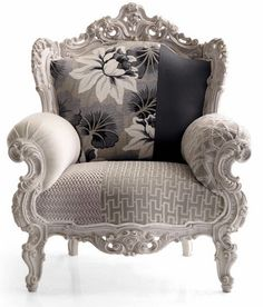 Light grey patchwork armchair, baroque style, light frame