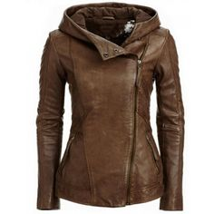 $27.99 Stylish Hooded Long Sleeve Solid Color PU Women's Jacket