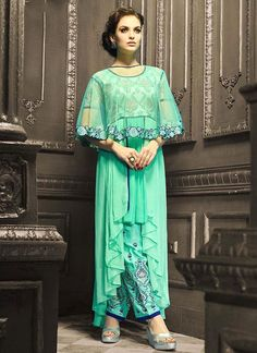 Charismatic Sea Green Patch Border Work Net Pant Style Suit
